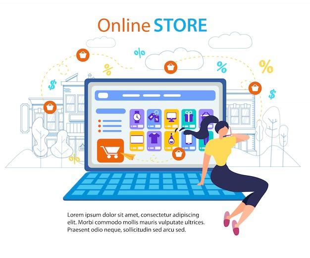 Mulher chamada celular. tela do computador da loja online Vetor Premium