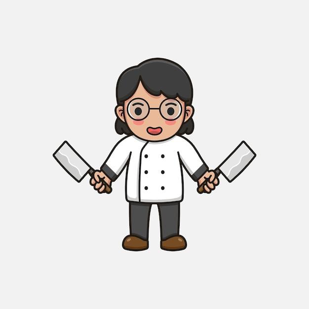 Mulher chefe fofa com facas de açougueiro Vetor Premium