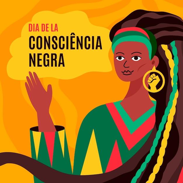 Mulher com cabelo comprido preto dia da consciência Vetor Premium