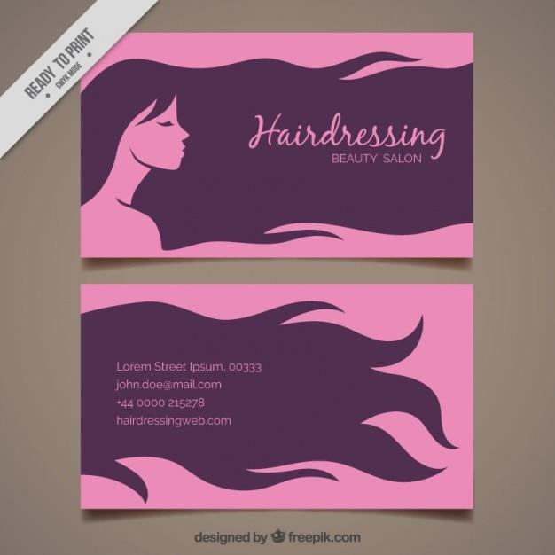 Mulher com cabelo longo cartão de cabeleireiro Vetor grátis