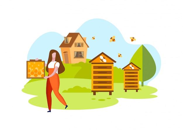 Mulher com favos de mel no apiário Vetor Premium