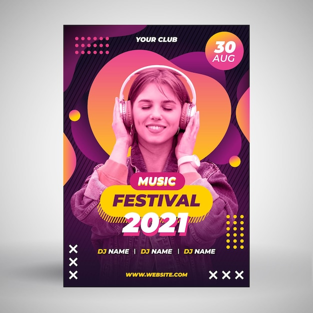 Mulher com fones de ouvido modelo de cartaz de evento de música Vetor grátis