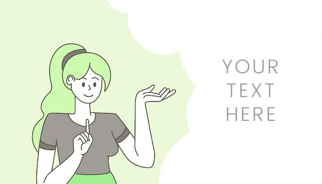Mulher com ilustração de bolha do discurso vazio. jovem garota certa gesticulando e pensando o personagem de desenho animado de contorno, sugerindo a idéia. modelo de vetor plana de design banner com espaço de texto e senhora falando Vetor Premium