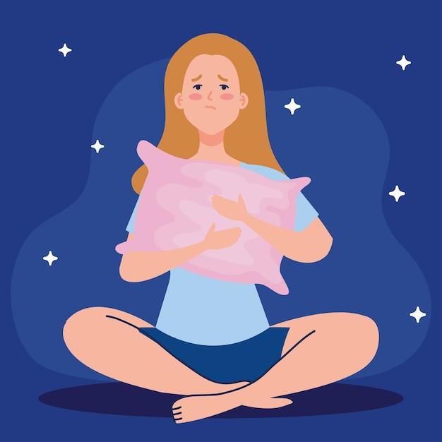 Mulher com insônia com design de travesseiro, tema de sono e noite Vetor Premium