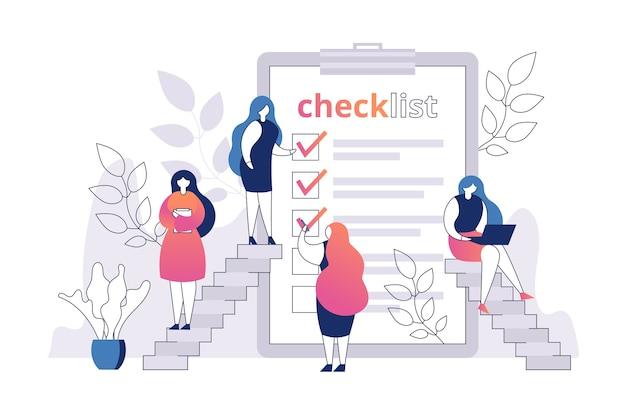 Mulher com lista de verificação em folha de papel Vetor Premium