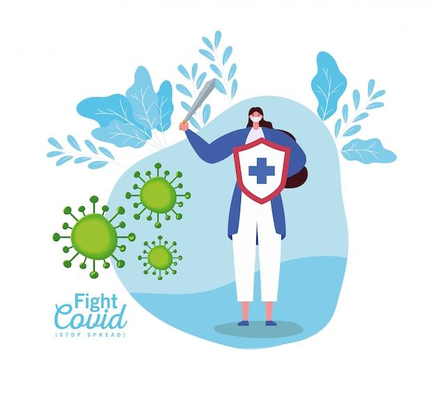 Mulher com máscara escudo e espada luta vírus Vetor Premium