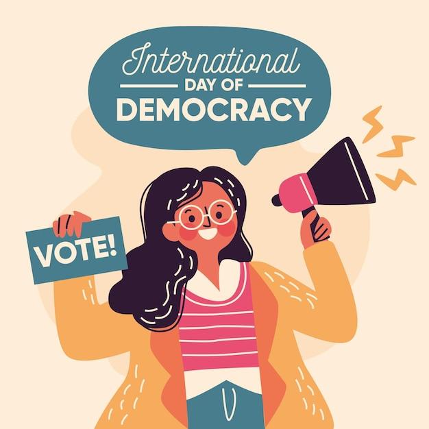 Mulher com megafone dia da democracia Vetor Premium