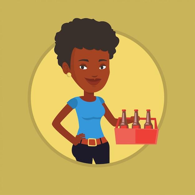 Mulher com pacote de ilustração vetorial de cerveja. Vetor Premium