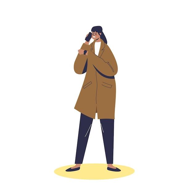 Mulher com raiva espera por pessoa tarde. mulher pontual irritada, culpando pessoas atrasadas no telefone. personagem de desenho animado nervoso esperando Vetor Premium