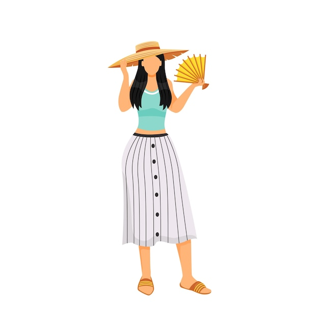 Mulher com roupa de verão design plano cor personagem sem rosto Vetor Premium