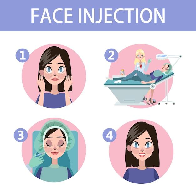 Mulher com rugas de envelhecimento fazer injeção para beleza. procedimento médico na clínica com seringa. ilustração vetorial isolada Vetor Premium