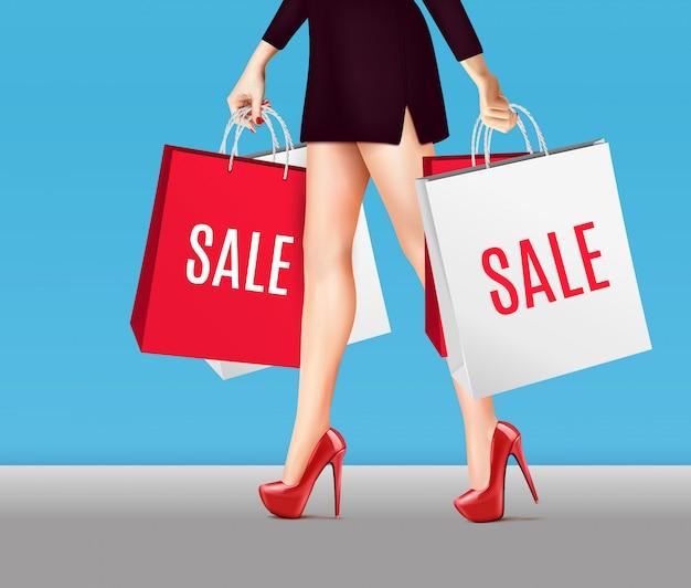 Mulher com sacos de compras realista Vetor grátis