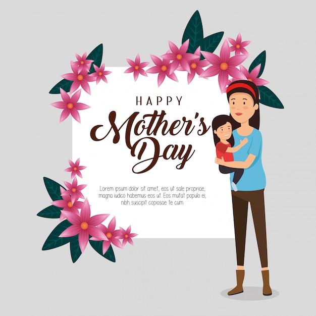 Mulher com sua filha e cartão para dia das mães Vetor grátis