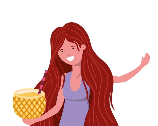 Mulher, com, swimsuit, e, abacaxi, coquetel, em, mão Vetor grátis