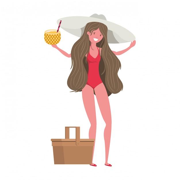 Mulher, com, swimsuit, e, abacaxi, coquetel Vetor grátis