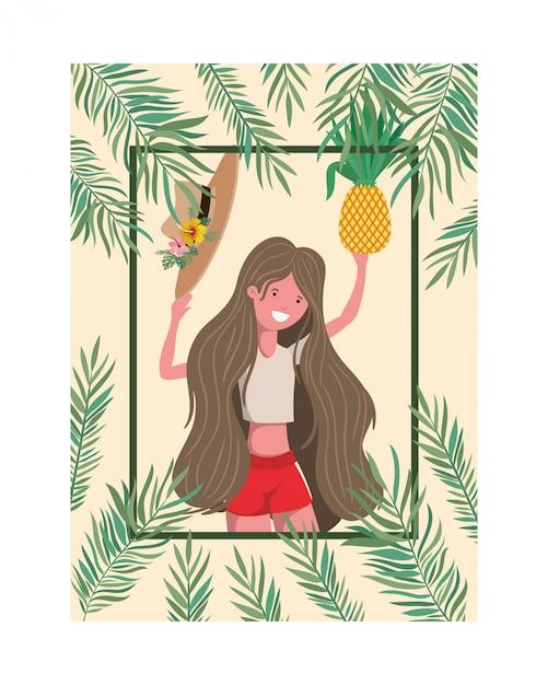 Mulher, com, swimsuit, e, abacaxi, em, mão, quadro Vetor grátis