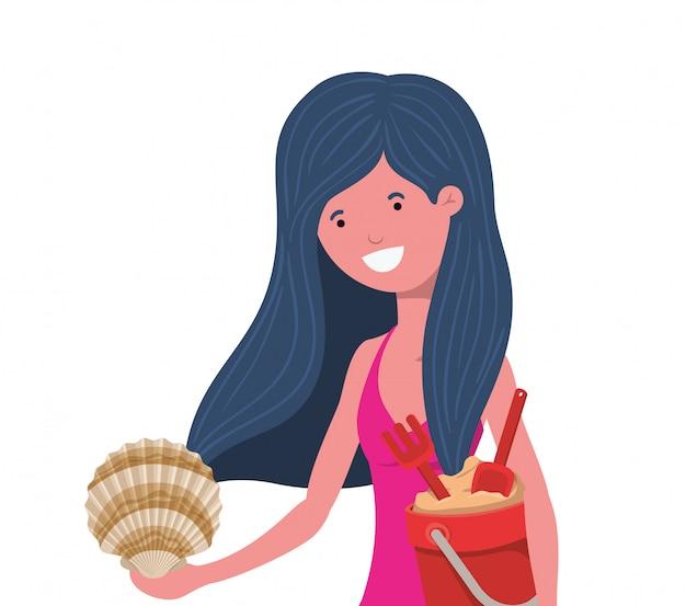 Mulher, com, swimsuit, e, balde areia Vetor grátis
