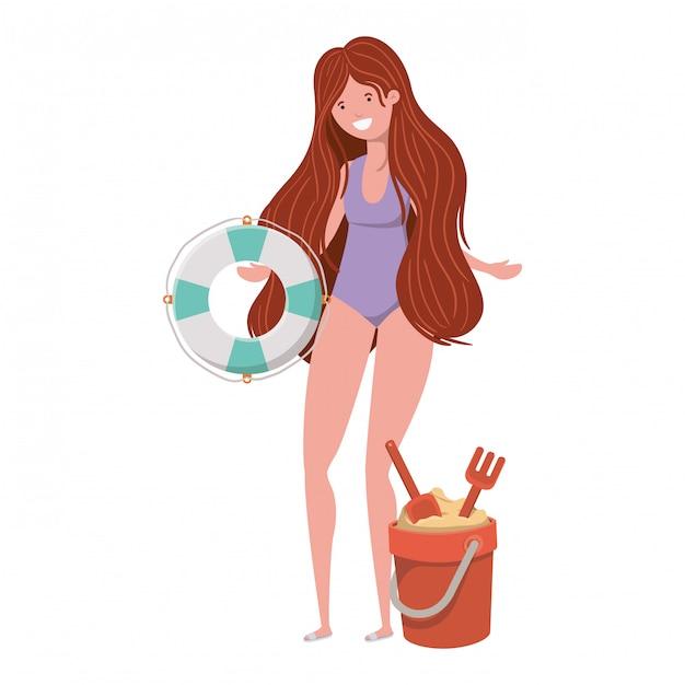 Mulher, com, swimsuit, e, lifesaving, flutuador, em, branca Vetor grátis