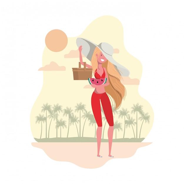 Mulher, com, swimsuit, e, palha, piquenique Vetor grátis