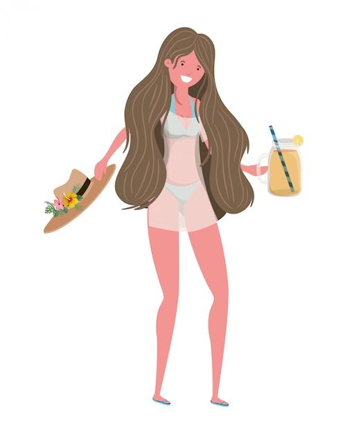 Mulher, com, swimsuit, e, vidro, com, refrescar, bebida Vetor grátis