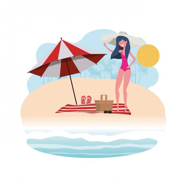 Mulher, com, swimsuit, praia, e, guarda-chuva Vetor grátis
