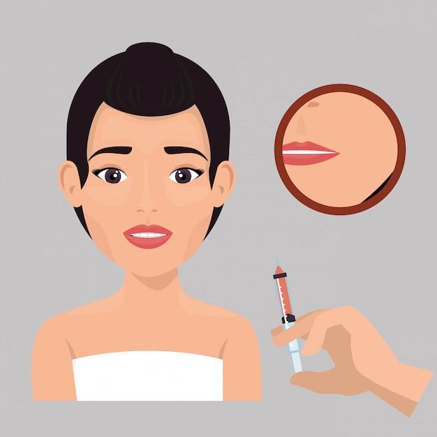 Mulher com tratamento de botox Vetor grátis