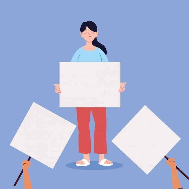 Mulher com um cartaz em branco branco, símbolo de protesto Vetor Premium