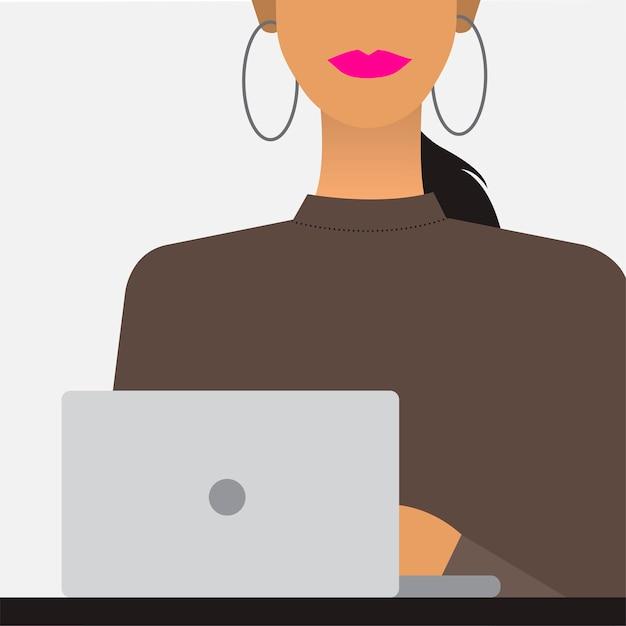 Mulher, com, um, laptop, ilustração Vetor grátis