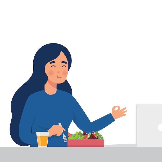 Mulher comer salada Vetor Premium