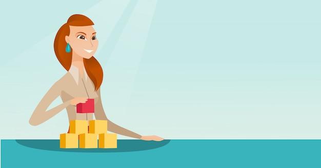 Mulher construindo sua rede social. Vetor Premium