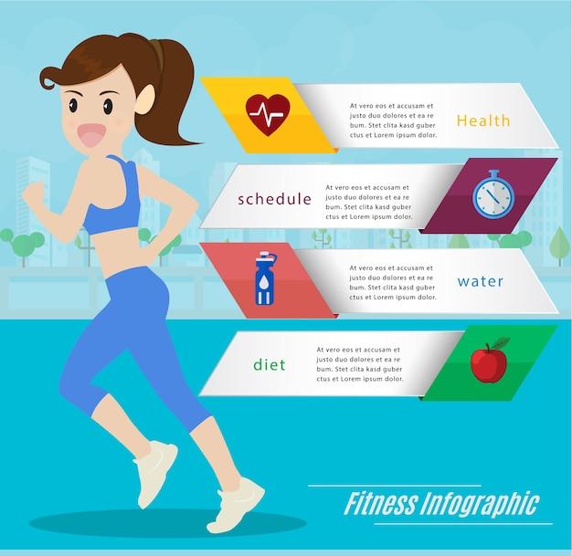 Mulher correndo e correndo infográficos de informações. Vetor Premium