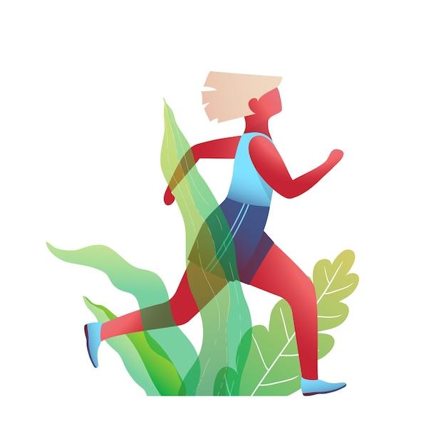 Mulher correndo em design plano de natureza Vetor Premium