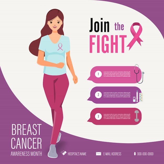 Mulher correndo no modelo de infográfico de campanha de conscientização de câncer de mama Vetor Premium