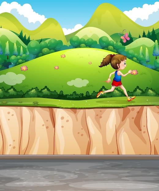 Mulher correndo no parque Vetor Premium