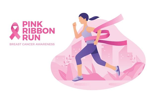 Mulher correu para conscientização do câncer de mama, corrida de fita rosa Vetor Premium