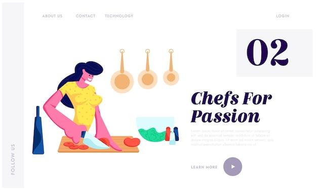 Mulher cortando legumes, cozinhando na cozinha em casa, preparando deliciosas Vetor Premium