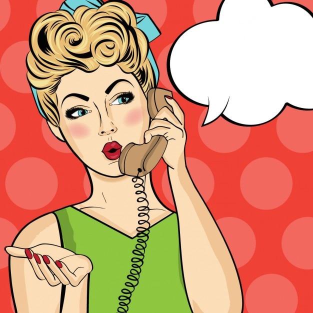 Mulher da arte pop conversa no telefone mulher comic retro com bolha do discurso pin up girl Vetor grátis