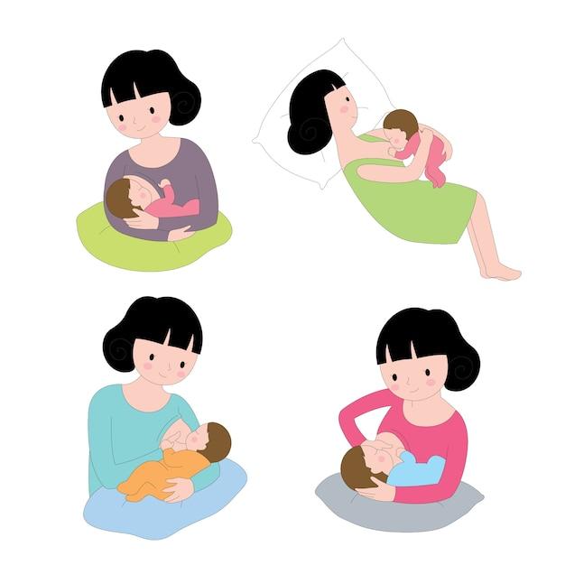 Mulher de ações bonito dos desenhos animados, alimentando seu conjunto de vetores de bebê | Vetor Premium
