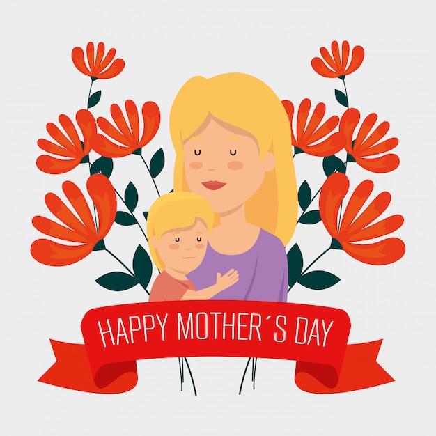 Mulher de beleza com seu filho e flores para o dia das mães Vetor grátis
