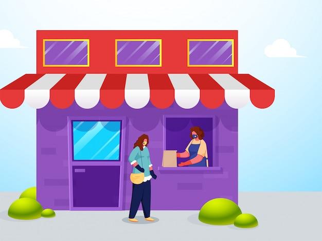 Mulher de comprador dando saco de papel para o cliente da janela com a manutenção da distância social durante o coronavírus. Vetor Premium