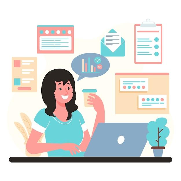 Mulher de conceito multitarefa trabalhando no escritório Vetor grátis