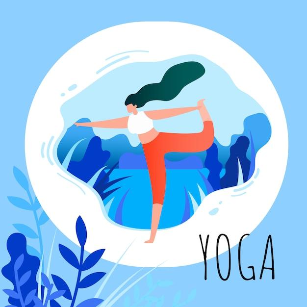 Mulher de desenho animado em posição de asana fazendo yoga Vetor Premium