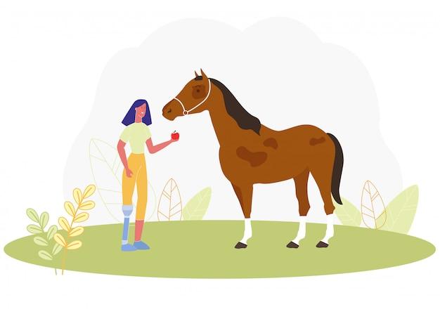 Mulher de desenhos animados com perna protética alimentação apple cavalo Vetor Premium