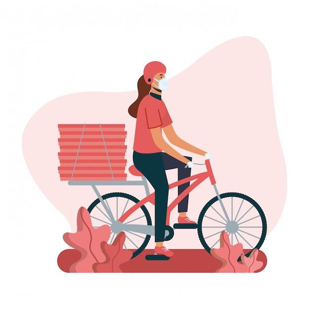 Mulher de entrega com máscara de bicicleta e caixas de design Vetor Premium