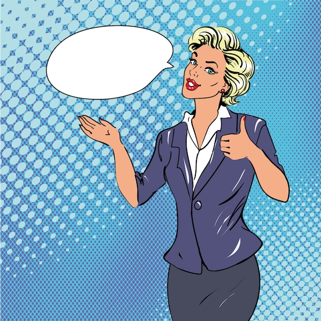Mulher de estilo retro pop art mostrando o polegar para cima o sinal da mão com bolha do discurso. cômica mão desenhada design ilustração. Vetor Premium