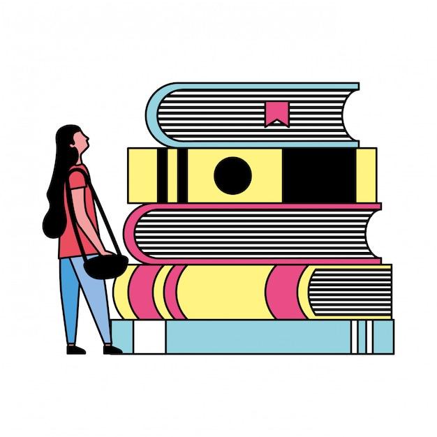 Mulher de estudante e livros de pilha Vetor Premium