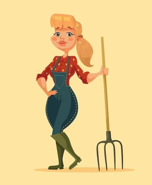 Mulher de fazendeiro segurando o forcado. garota de fazenda feliz. ilustração em vetor plana dos desenhos animados Vetor Premium