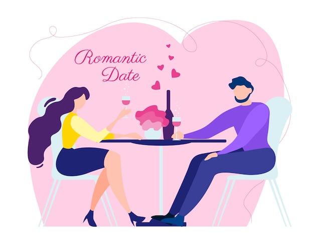 Mulher de homem dos desenhos animados data romântica amor relacionamento Vetor Premium