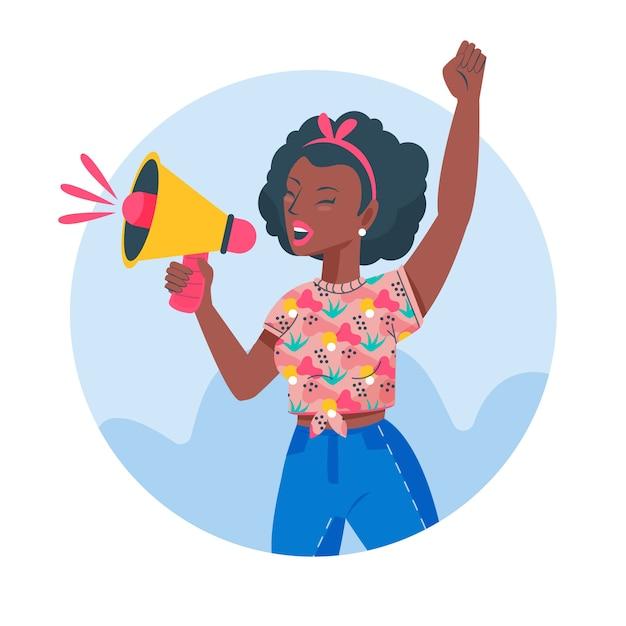Mulher de ilustração, gritando com um megafone Vetor grátis