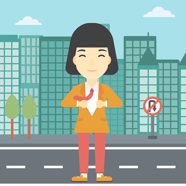 Mulher de negócios, abrindo o casaco como super-herói. Vetor Premium